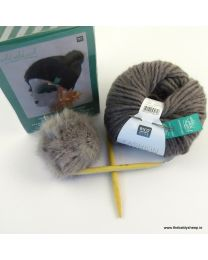 Wild Wild Wool Knit Hat Kit with Pompon in Grey