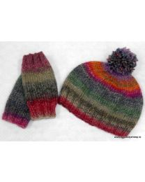 Rainbow hat and Mittens by Patricia Cox